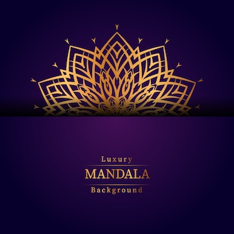 ゴールド色の豪華な装飾的なマンダラデザインの背景、結婚式の招待状、本の表紙の豪華なマンダラの背景