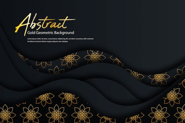 黄金の抽象的なパターンの形をした創造的な幾何学的な暗い背景