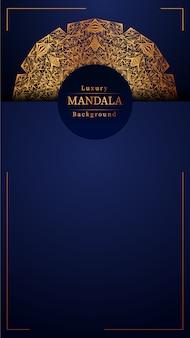 ゴールドカラーの豪華な装飾マンダラデザインの背景、結婚式の招待状、ブックカバーの豪華なマンダラ背景。
