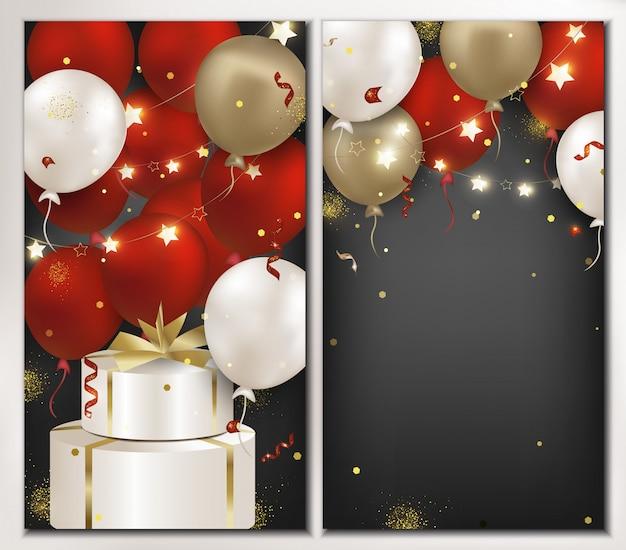 Набор баннеров день рождения с красными, белыми, золотыми шарами, изолированные на темном фоне. шаблон для плаката, продвижение бизнеса, скидки, приглашения. иллюстрация