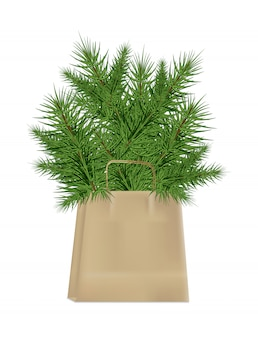 Ветки елки в крафт-бумажном пакете на белом фоне