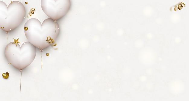 かわいい白い空気の心、紙吹雪、ライトとバレンタインデーの水平方向のバナー。母の日または女性の日のグリーティングカード。