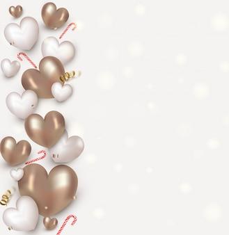 バレンタインデーのためのかわいいハート、キャンディー、紙吹雪。フラットレイアウトデザイン。