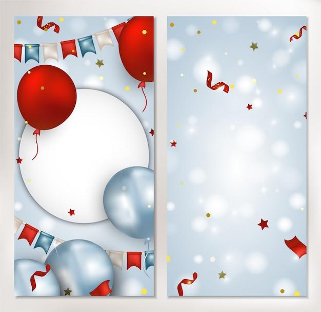 赤、青の風船、旗花輪、紙吹雪、輝き、青い背景のライトと垂直バナーのセット。ソーシャルネットワーク、招待状、プロモーション、販売のテンプレート。 。