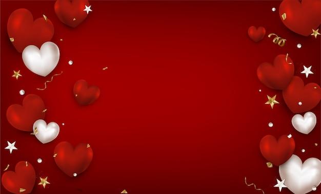 Плоский лежал день святого валентина красный фон с воздушным сердцем