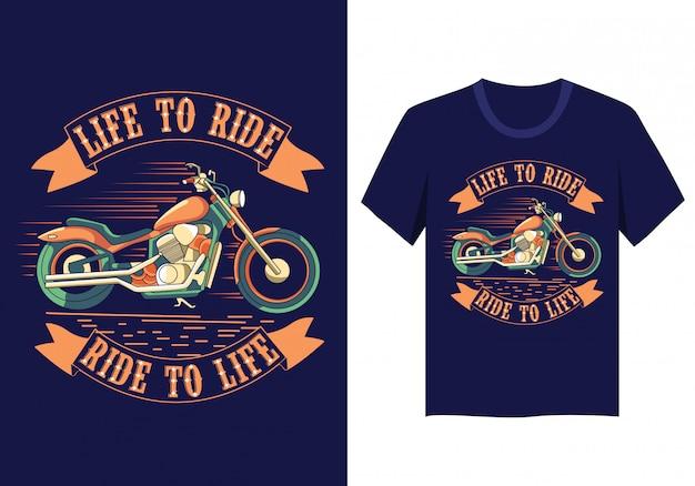 Мотоцикл жизнь ездить на футболке дизайн