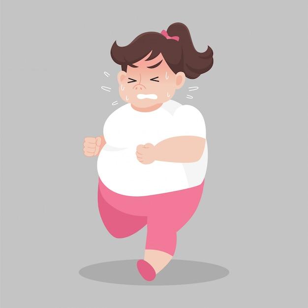 走っている大きな太った女性は体重を減らしたい