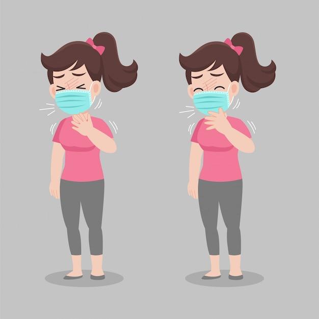 Женщина получает лихорадку и кашель, носить хирургическую защитную медицинскую маску для предотвращения вируса