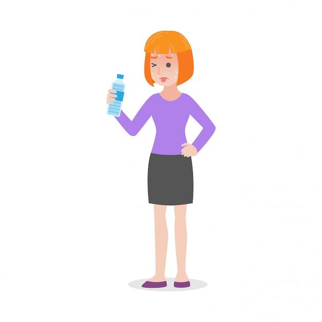 女性は脱水熱中症医療ヒースケアの概念を持っています。