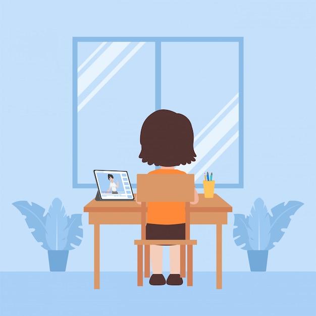 Дети изучают образование дома самообучения, концепция дистанционного обучения телевидению.