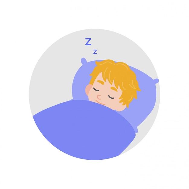 子供がベッドで寝る