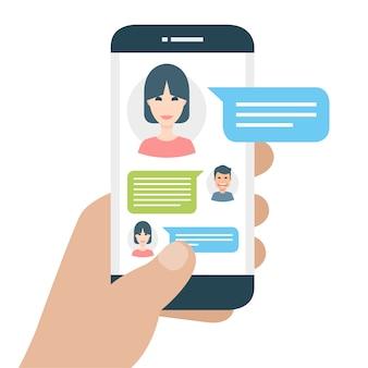 メッセージングアプリケーションを搭載した携帯電話
