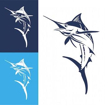 手描きマーリン魚のジャンプ