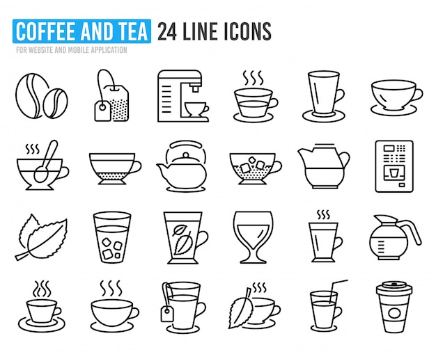 コーヒーと紅茶の線のアイコン。ティーポット、コーヒーポット。
