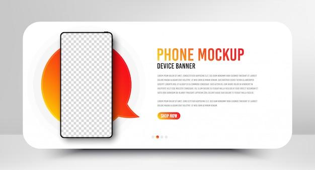 空白の画面を持つスマートフォンモックアップバナー。