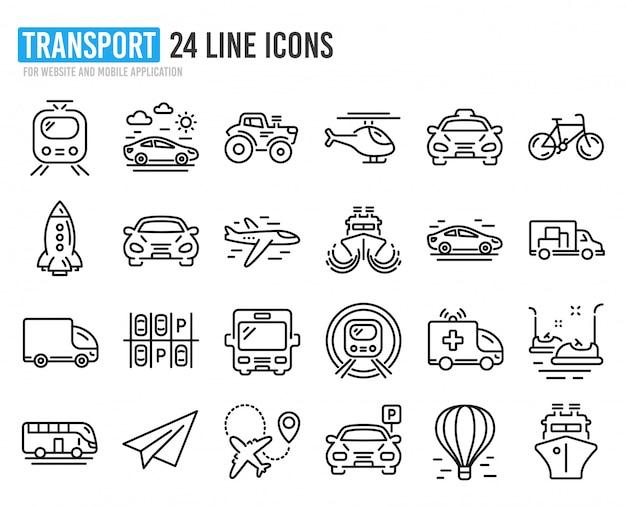 トランスポートラインアイコン。タクシー、ヘリコプター、電車のセット。