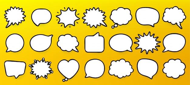 漫画の吹き出し。考えて話す雲。レトロな泡の形。ハーフトーンシャドウ。