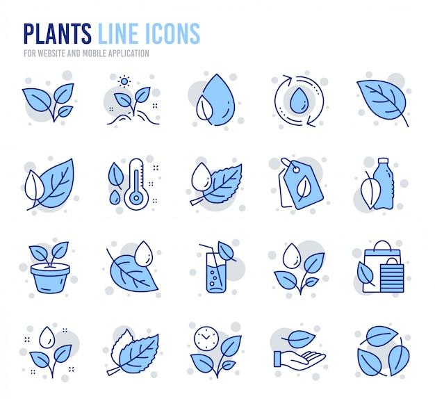 植物ラインのアイコン。葉、成長している植物、湿度温度計アイコンのセット。