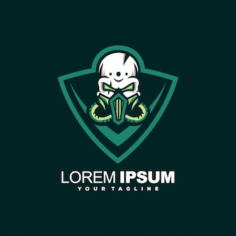 緑の頭蓋骨の頭のロゴデザイン