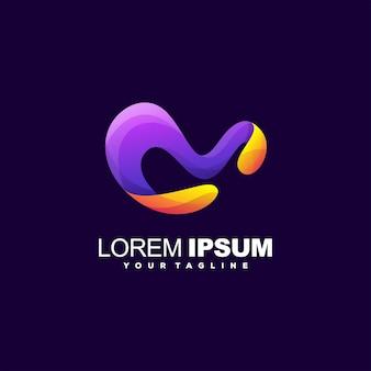 Буква м градиентный дизайн логотипа