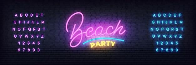 Шаблон неонового баннера на пляжной вечеринке