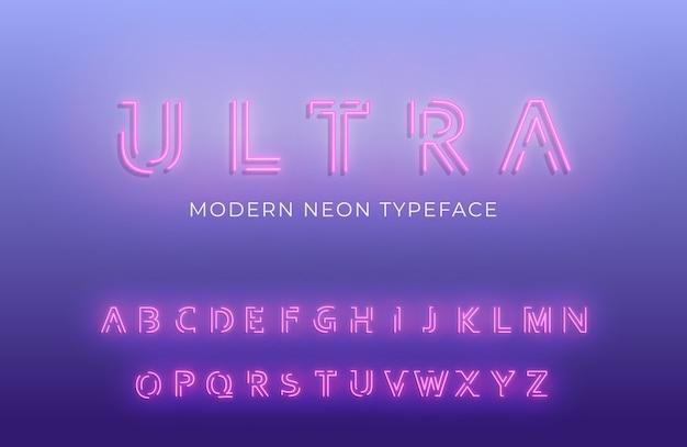 輝くモダンな未来的なフォント書体