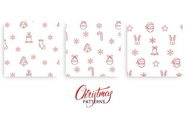 プレゼント包装紙のクリスマスパターンのセット