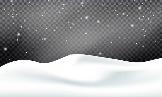 冬の雪の風景。吹雪と雪に覆われた雪