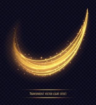分離された魔法の黄金の光跡効果。明るいボケと輝きのある発光星屑。ベクトルイラスト。