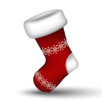 Вектор вязаный зимний красный рождественский носок. изолированные на белом фоне