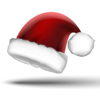 Вектор вязаного рождества санта красная шапка. изолированные на белом фоне