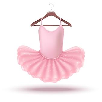 Значок маленькая девочка розовое платье балерины на вешалке. изолированные на белом фоне иллюстрации.