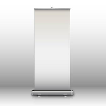 灰色の背景に分離された影を持つ空白のロールアップバナー。