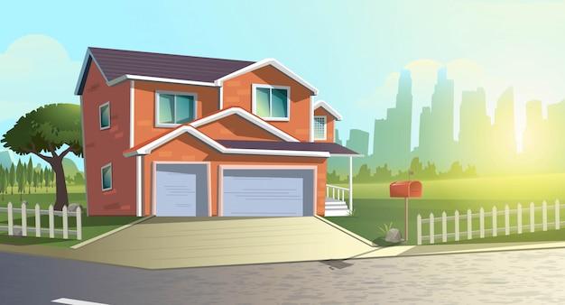 町の外の緑の田舎のフィールドの木の中でモダンなコテージ家の夏漫画イラスト。