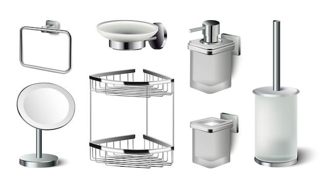 浴室付属品のアイコンコレクション。鏡、液体石鹸、棚、トイレ用ブラシ。