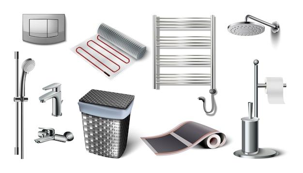 浴室付属品のアイコンコレクション。トイレボタン、洋服バスケット、セントラルヒーティングバッテリー、シャワーヘッド、タップ、床暖房。