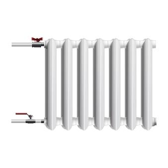セントラルヒーティングバッテリー、ラジエーターのアイコン。白で隔離されます。