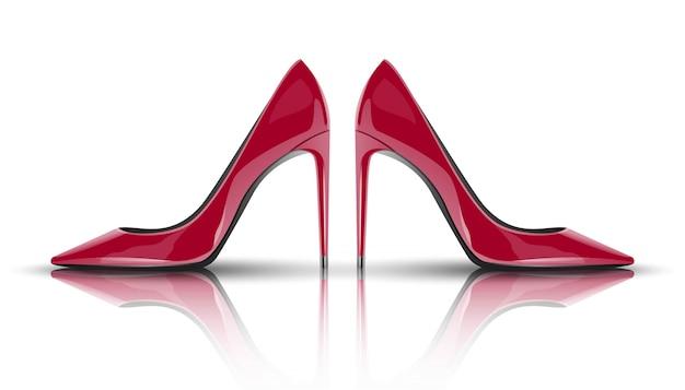 Модная красная женщина на высоких каблуках. изолированный
