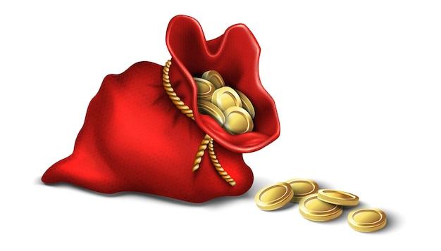 Красная винтажная сумка-кошелек с золотыми монетами. на белом фоне значок.