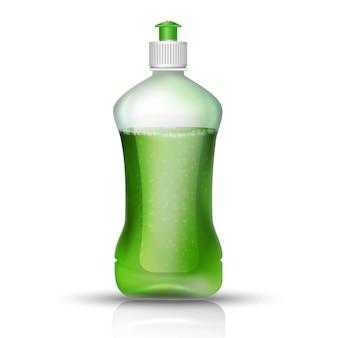 緑のキャップ付き食器洗い機の液体ボトル。白い背景の上のアイコンのイラスト。