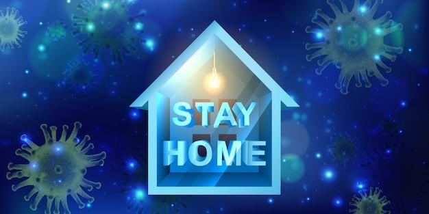 バナー、柔らかな光と小さな家でコロナウイルスの発生テンプレートと青色の背景に顕微鏡で家の看板とウイルス細胞にとどまる。