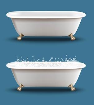 石鹸の泡とシャンプーの泡でバスタブを設定します。