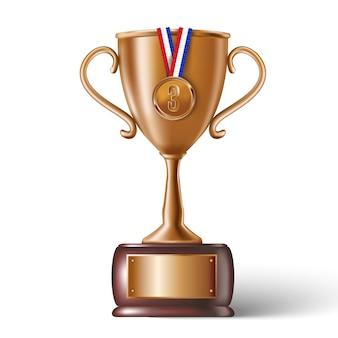 Бронзовый трофей с бронзовой медалью и место для вашего текста.