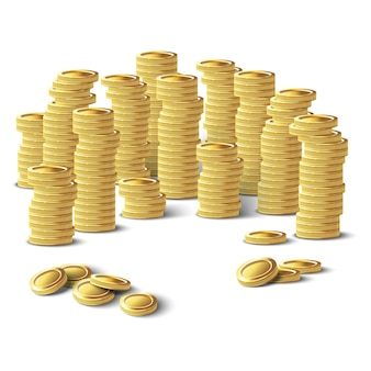 Золотые монеты изолированная иллюстрация значка на белой предпосылке.