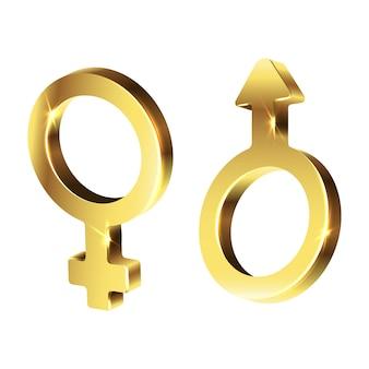 Золотой знак мужчины и женщины. изолированная иллюстрация значка на белой предпосылке.