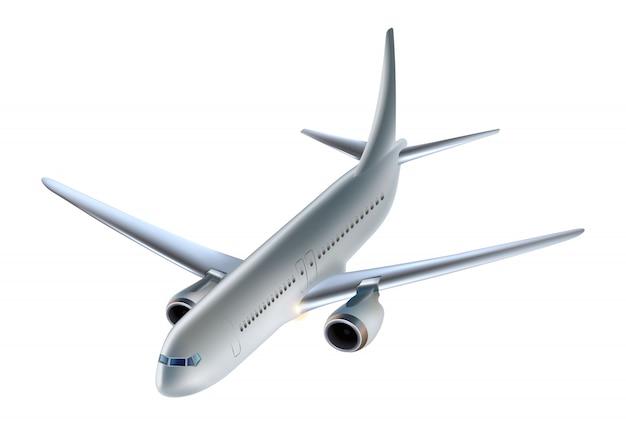 飛行機。白い背景の航空機、サイドビューに分離されました。