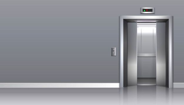 あなたの広告のための開いたドアおよびコピースペースが付いているオフィスビルのエレベーター。