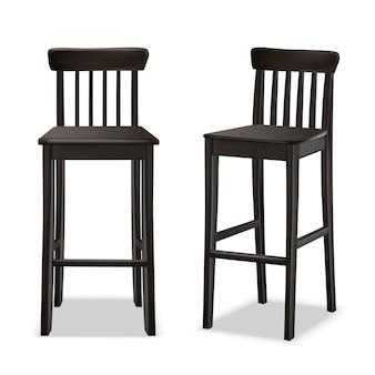 Вектор бар или ресторан стул в передней и боковой вид