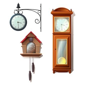 漫画スタイルの時計コレクション、壁時計、床。白い背景で隔離されました。