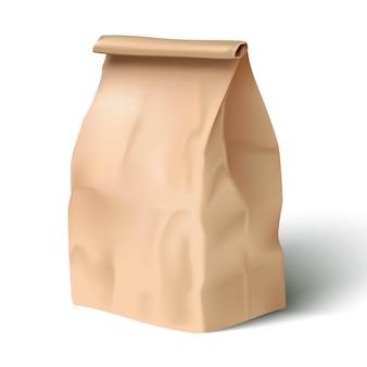 ペーパーランチバッグのイラスト。白で隔離